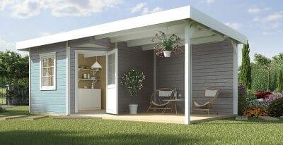 Modernes Gartenhaus zartblau